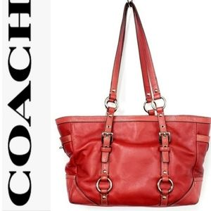 Coach Red Leather Gallery East West Tote Bag 12343